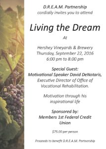 Join us for Living the Dream – Fundraiser Event 9/22/16