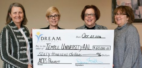 DREAM Partnership Board Chairperson Donna Partin, along with Executive Director Sherri Landis present a $60,000 award to Temple University's Institute on Disabilities Executive Director Celia S. Feinstein and Director of Supports and Services, Kathy Miller.